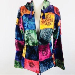 Kathmandu Imports zip up boho patchwork hoodie